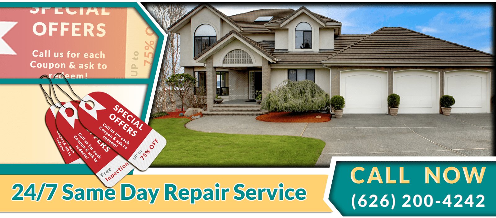Special Offers Discounts Coupon Garage Door Repair Pasadena